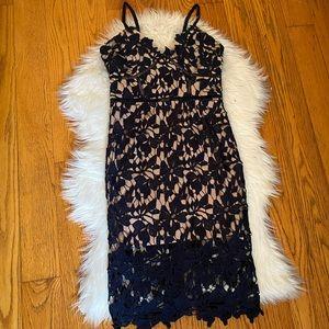 Navy lace midi dress